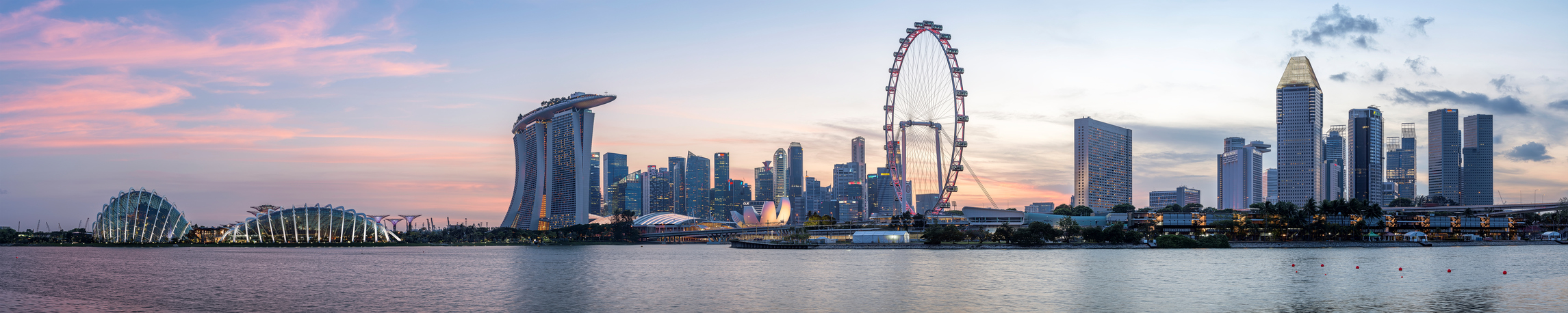 Panorama of Singapore Skyline at Sunset.